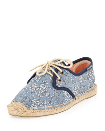 Lace-Up Floral-Print Flat Derby, Blue