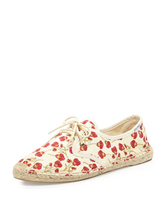 Let's Tango Derby Lace-Up Espadrille Flat, Red