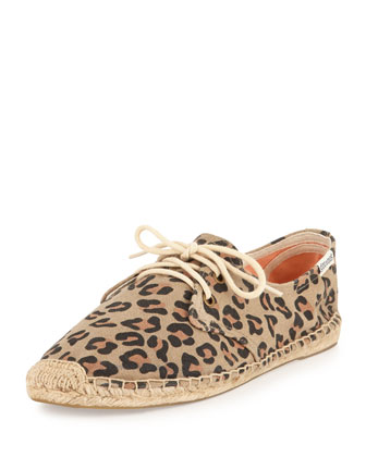 Lace-Up Espadrille Derby Flat, Leopard
