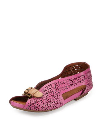 Bless Word Perforated Slip-On, Fuchsia