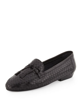 Nancy Woven Leather Tassel Loafer, Black