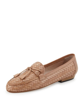 Nancy Woven Leather Tassel Loafer, Natural