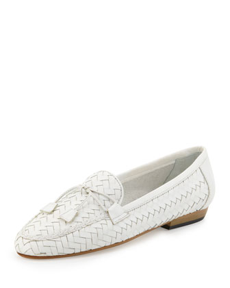 Nancy Woven Leather Tassel Flat Loafer, White