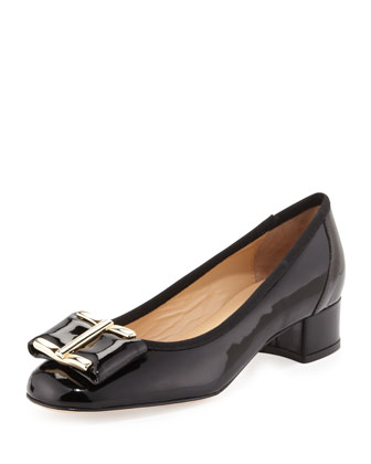 Ramie Patent Ornament Pump, Black