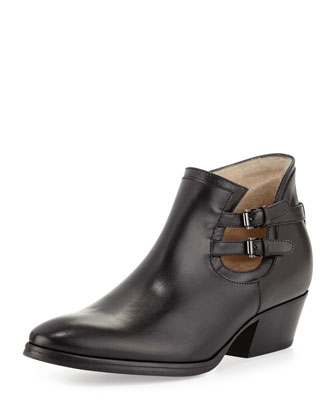 Frankie Buckle-Strap Ankle Boot, Black