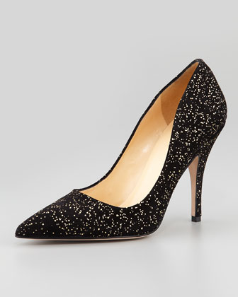 licorice gold fleck suede pump, black/gold