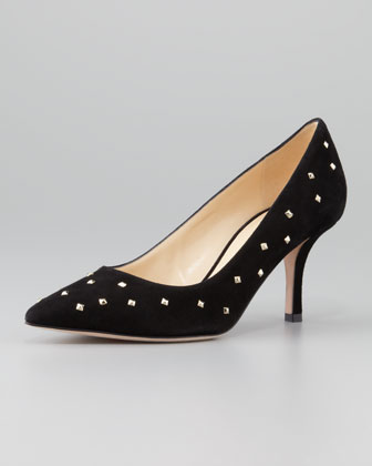 jacinda studded suede pump, black