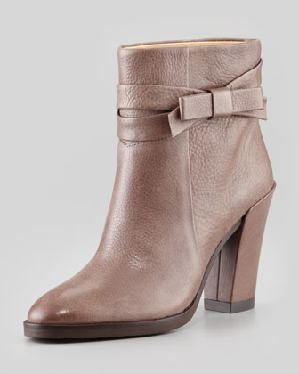 mannie bow ankle boot, taupe