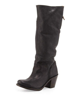 Carmen Slouchy Laced-Back Boot, Black