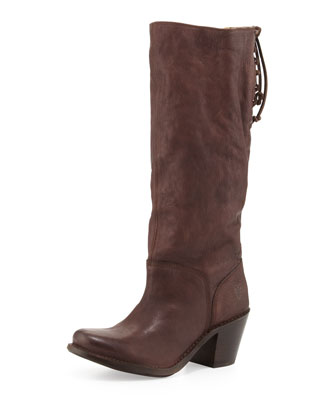 Carmen Slouchy Laced-Back Boot, Dark Brown