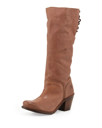 Carmen Slouchy Laced-Back Boot, Fawn