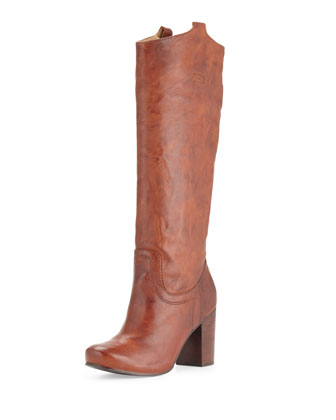 Carson Tabbed Knee Boot, Cognac