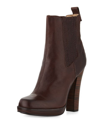 Donna Stacked-Heel Chelsea Boot, Dark Brown