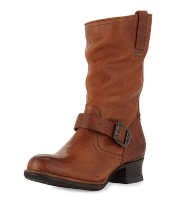 Martina Short Buckled Engineer Boot, Tan