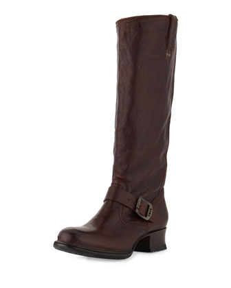 Martina Tall Buckled Engineer Boot, Dark Brown