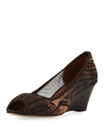 Molly Animal-Print Stretch Wedge, Natural