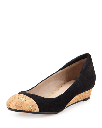 Julie Nubuck Ballerina Demi-Wedge, Black