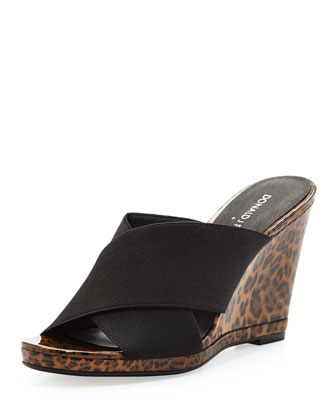 Hedi Leopard-Print Stretch Wedge
