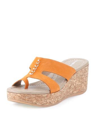 Shelee Nubuck Wedge Sandal, Tangerine