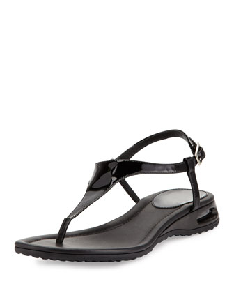 Air Bria Patent Thong Sandal, Black