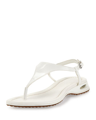 Air Bria Patent Thong Sandal, White