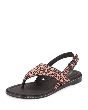 Gal Leopard-Print Calf Hair Thong Sandal, Pink