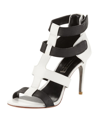 Palmer Two-Tone Leather Strappy Sandals, Black/White