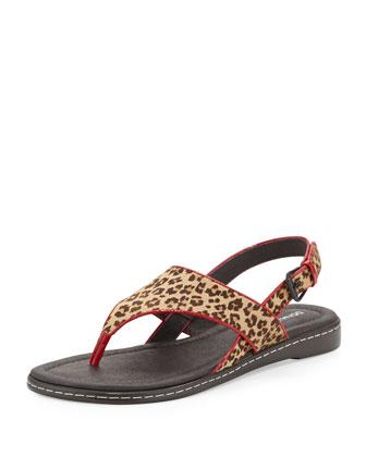 Gal Leopard-Print Calf Hair Thong Sandal, Camel