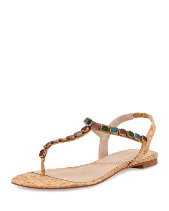 Trivit Bejeweled Cork Thong Sandal