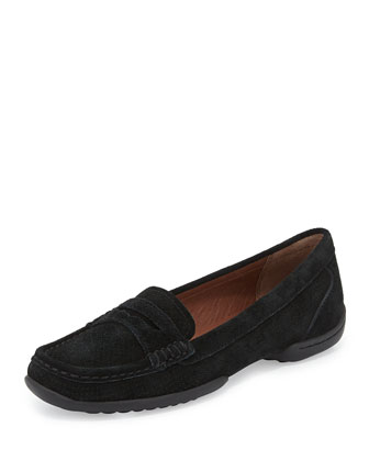 Vegga Perforated Suede Loafer, Black