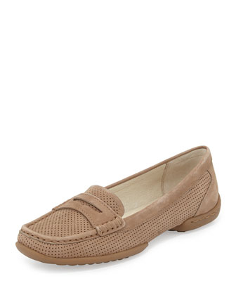 Vegga Perforated Nubuck Loafer, Taupe