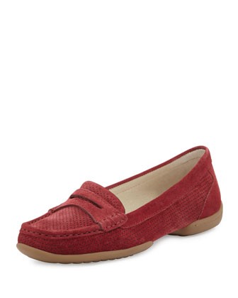 Vegga Perforated Suede Loafer, Red