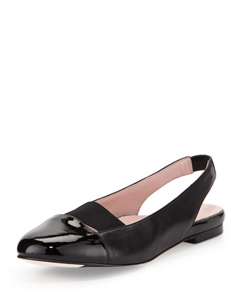 Brettly Cap-Toe Leather Slingback, Black