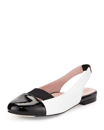 Brettly Cap-Toe Leather Slingback, Black/White