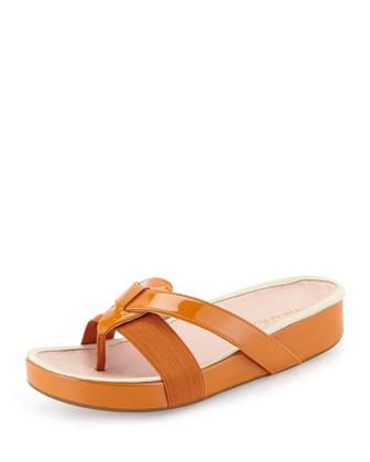 Austen Patent Thong Sandal, Tangerine