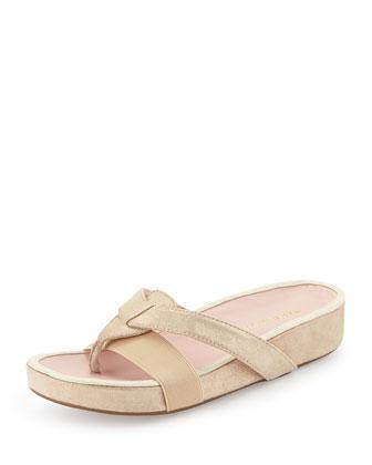 Austen Metallic Thong Sandal, Beige/Gold
