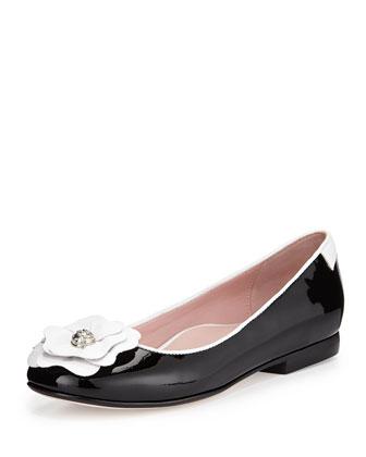 Britten Flower Ballerina Flat, Black/White