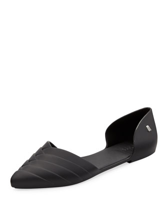 Petal Pointed Jelly d'Orsay Flat, Black
