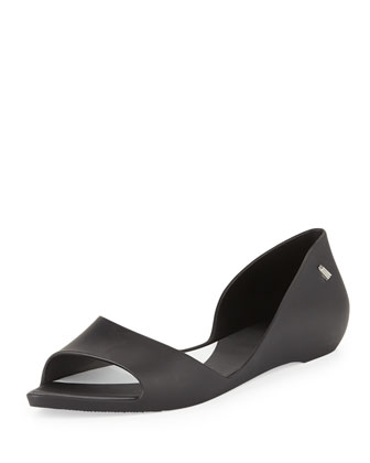 Sweet Dreams Open-Toe Jelly Flat, Black