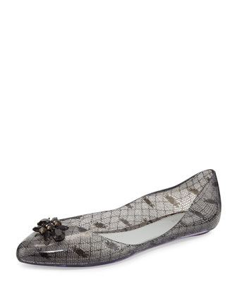 Melissa + Jason Wu Trippy Printed Jelly Flat, Black/White