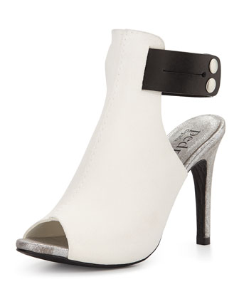Samantha Leather Peep-Toe Sandal, Black/White