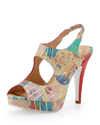Wanna Have Fun Studded-Heel Platform Sandal, Poppy Floral