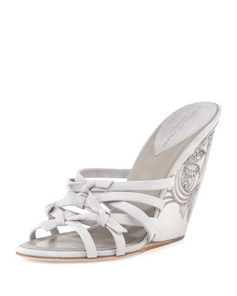 Tiberias Etched-Wedge Sandal, Oyster