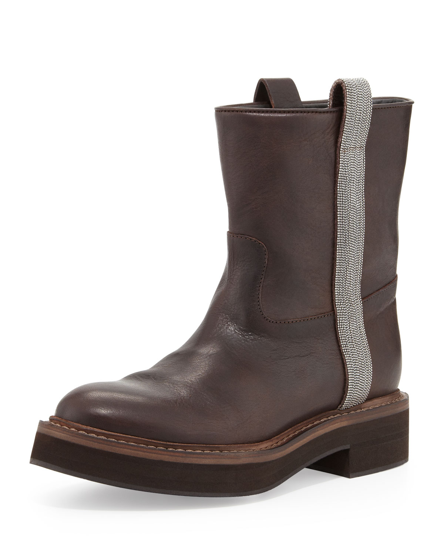 Flat Ankle Boot with Ball Chain Trim, Grayish Brown   Brunello Cucinelli   Dark