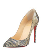 Pigalle Follies Glitter Red Sole Pump, Gold/Platine