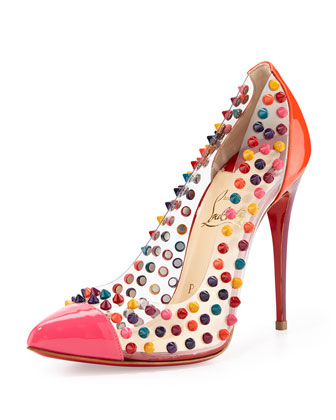 Spike Me PVC Cap-Toe Red Sole Pump, Pink