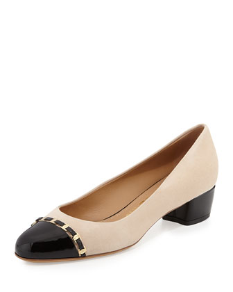 Pim Suede Cap-Toe Pump, New Bisque