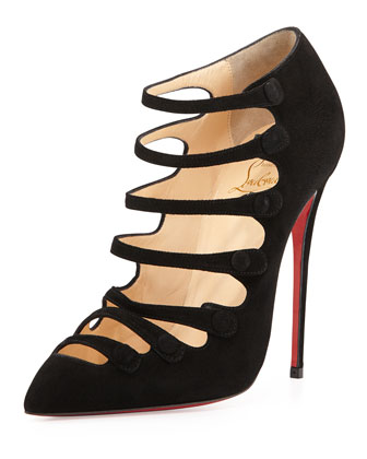 Viennana Strappy Suede Red Sole Bootie, Black