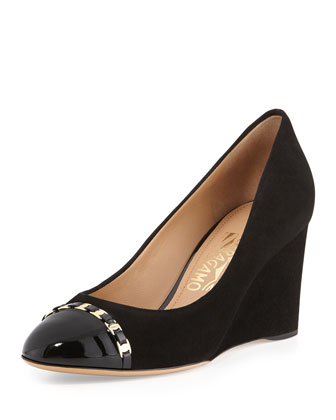 Nana Suede Cap-Toe Wedge Pump, Nero
