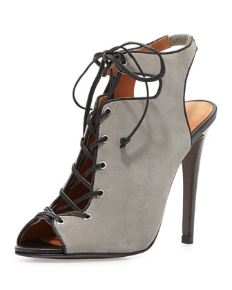 Rio Nubuck Lace-Up Bootie, Elephant Gray